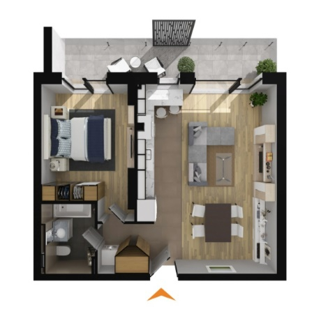 Apartments with 2 rooms B3