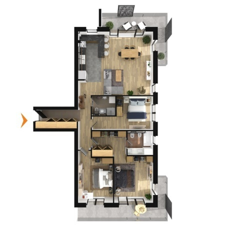 Apartments with 4 rooms B3